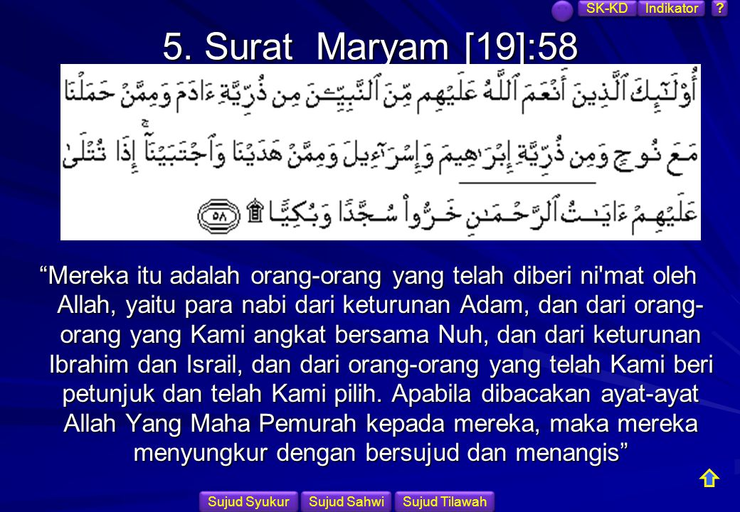 SK-KD Indikator. 5. Surat Maryam [19]:58.
